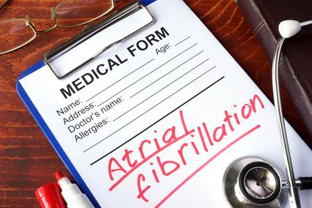 fibrillation: Medical form with words Atrial fibrillation (AFib).