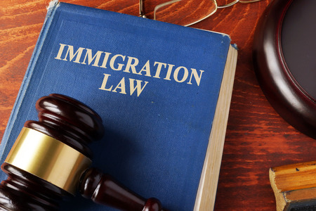 Book with title immigration law on a table. Imagens