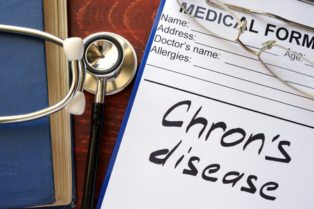 enteritis: Chron Disease written in a medical form.