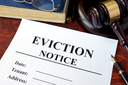 eviction: Eviction notice and gavel on a table. Stock Photo