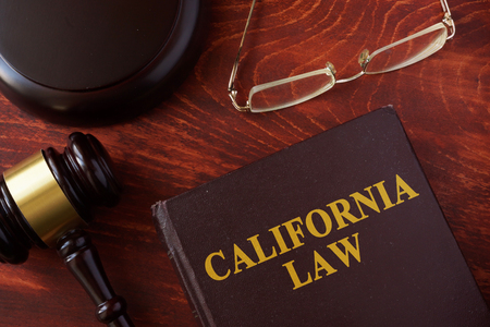 judgments: Book with title California law and a gavel. Stock Photo