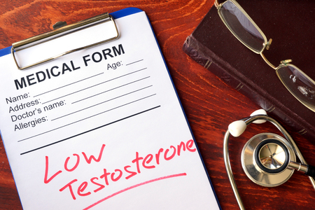 Sign low testosterone in a medical form. Zdjęcie Seryjne - 70311227