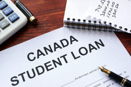 business loans: Canada student loan form on a table. Stock Photo