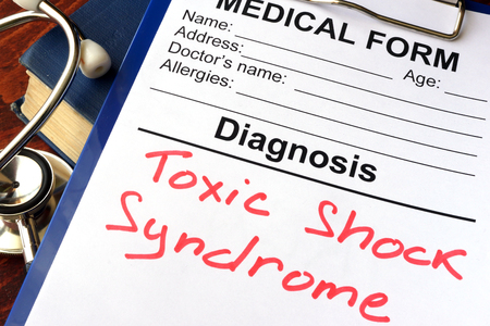 Medical form with diagnosis Toxic shock syndrome.