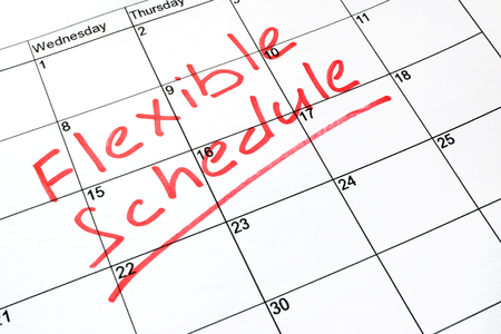 Flexible schedule written on a calendar.