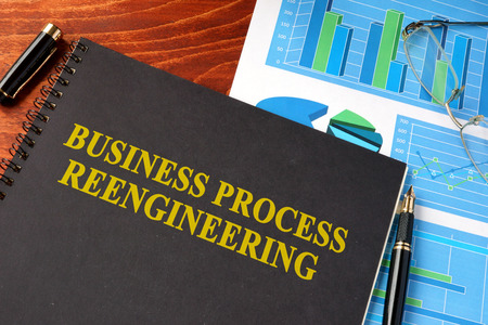 reengineering: Book with title Business process reengineering BPR. Stock Photo