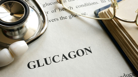 glucagon: Document with title Glucagon on a table. Stock Photo