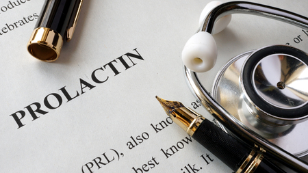 pituitary: Document with title Prolactin on a table. Stock Photo