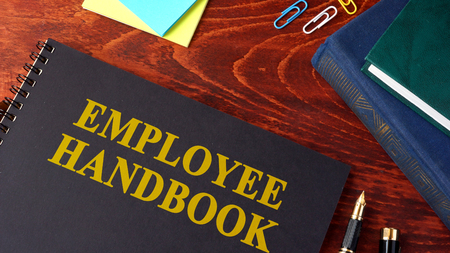 Employee Handbook or manual in a office. Imagens - 74558266