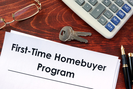 homebuyer: Document with title First time home buyer program. Stock Photo