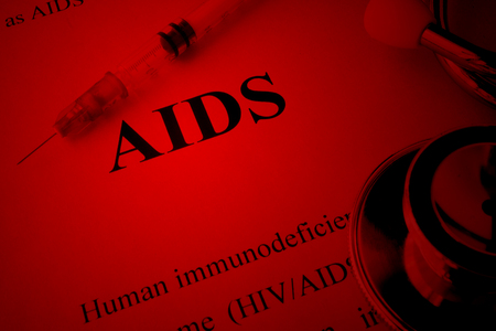 immunodeficiency: Diagnosis AIDS (Acquired immunodeficiency syndrome). HIVAIDS awareness concept.