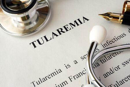 transmissible: Page with title tularemia on a table.