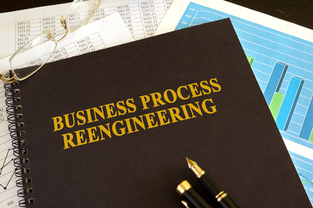 reengineering: Book with title Business process reengineering (BPR). Stock Photo