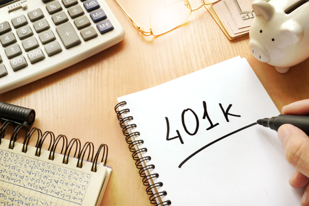 401k written in a note. Pension concept.