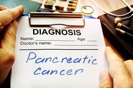 pancreatic cancer: Pancreatic cancer diagnosis on a medical form.