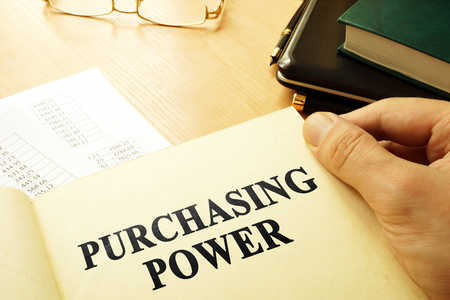 Book with page about purchasing power. Business concept. Reklamní fotografie