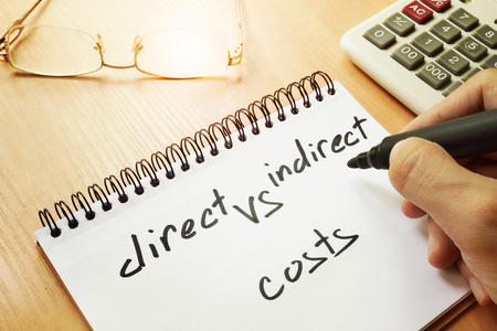 Costi diretti e indiretti scritti a mano in una nota.