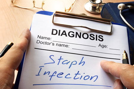 Staph Infection written on a diagnosis form. Stok Fotoğraf