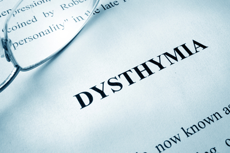 Page with title dysthymia or persistent depressive disorder (PDD). Stock Photo