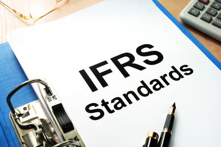 Folder with documents IFRS standards. Stok Fotoğraf - 82753525