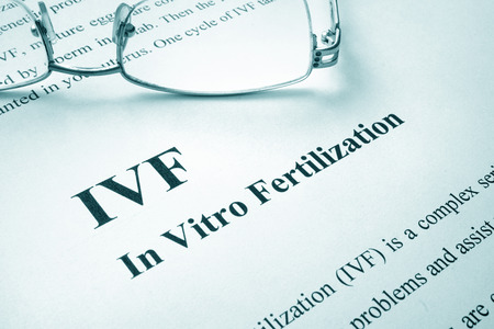Document with title IVF (In Vitro Fertilization). Stock Photo