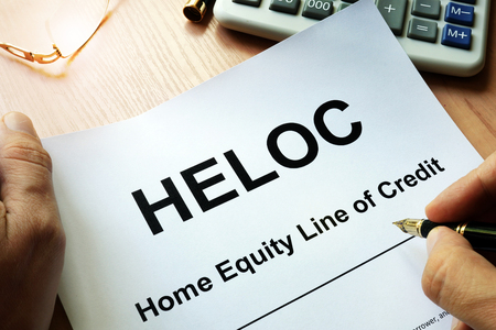 Document HELOC Home equity line of credit on a table. Stock fotó - 83788881