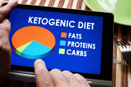 Man holding tablet with meal plan of Keto or Ketogenic diet. Stok Fotoğraf