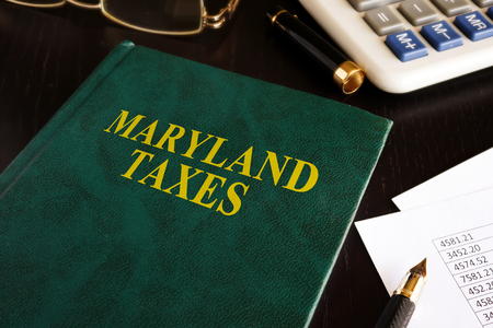Maryland taxes on a office table. Stock Photo - 88063604