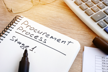 Procurement process list with stage 1 in a note.