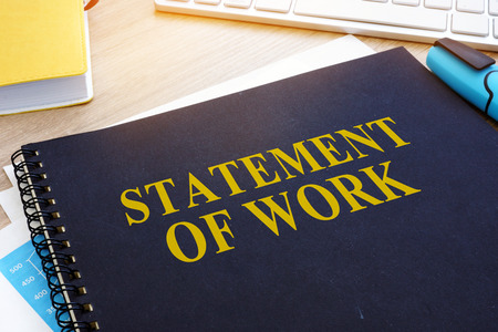 Statement of Work SOW on an office desk.