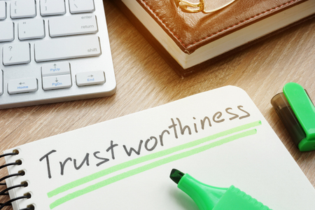 Trustworthiness written in note.Trustworthy or trust concept. Stock Photo