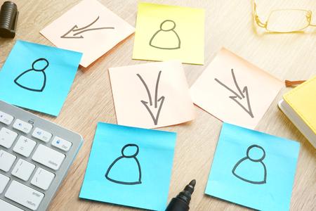 Concept de délégation. Structure de l'organisation de gestion sur bâtons. Banque d'images