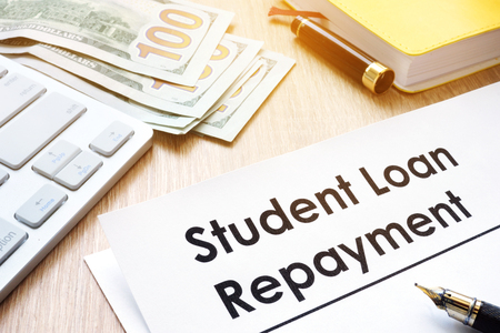 Student Loan Repayment form on a desk.
