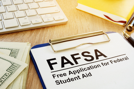 Free Application for Federal Student Aid (FAFSA) concept. Stock Photo