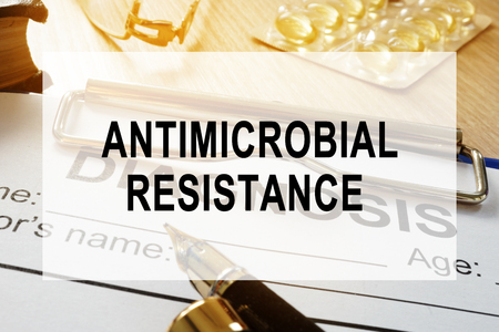 Antimicrobial resistance AMR concept. Desk in a hospital. Stok Fotoğraf