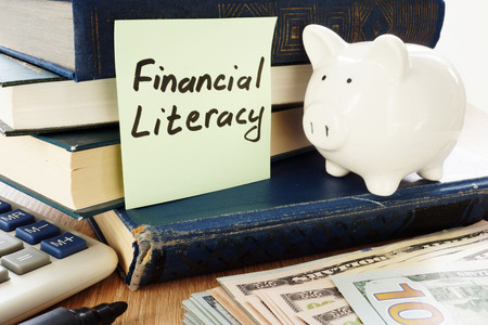 Financial Literacy written on a stick and piggy bank as savings symbol. Banco de Imagens