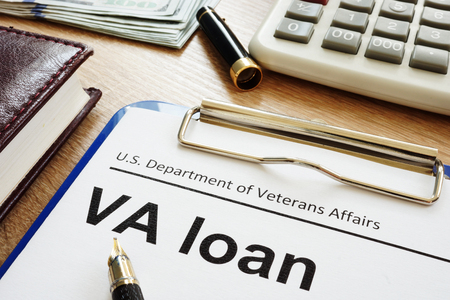 VA loan U.S. Department of Veterans Affairs form with clipboard. Standard-Bild