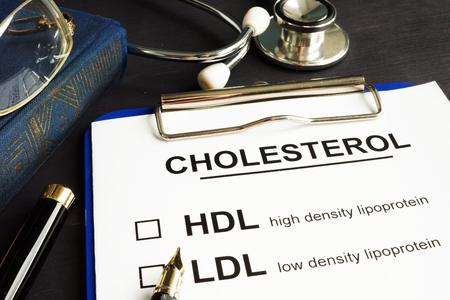 Cholesterol, hdl and ldl. Medical form on a desk. Stok Fotoğraf