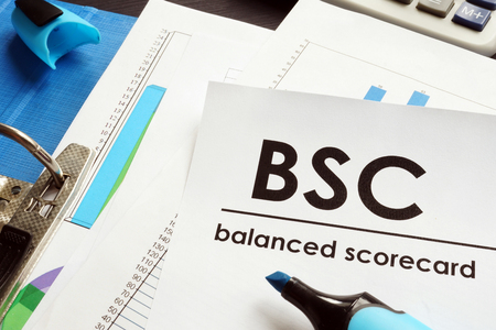 Documents about balanced scorecard BSC on a table. 写真素材