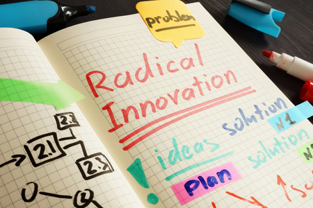 Radical innovation handwritten in the note and pen.