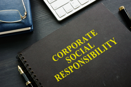 Book about Corporate social responsibility in the office.