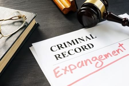 Expunge of criminal record. Expungement written on a document. Reklamní fotografie - 107684695