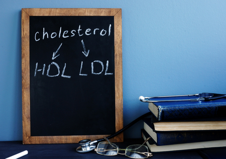 Cholesterol HDL LDL written on a blackboard.