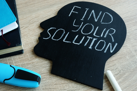 Find your solution written on head silhouette. Stok Fotoğraf