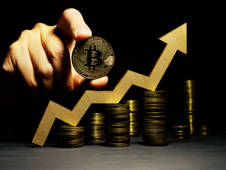 Growth up of Bitcoin btc price. Arrow and coin. Crypto trading.
