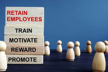 Words Retain Employees Train Motivate Reward Promote on a wooden blocks.