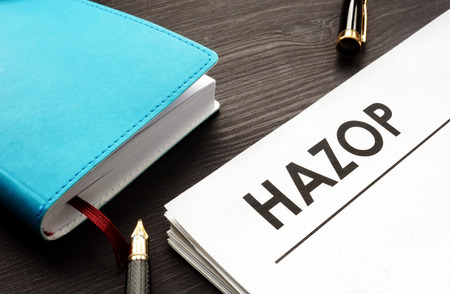 HAZOP hazard and operability study documents. 版權商用圖片