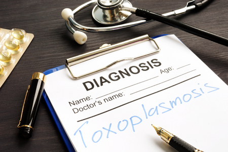 Toxoplasmosis written in a medical form for diagnosis.