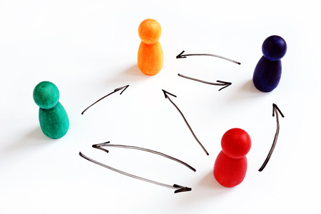 Flat or horizontal organizational structure. Figurines and arrows.