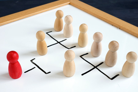 Hierarchical organizational structure of company. Leadership and management. Foto de archivo